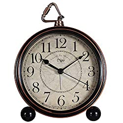 JUSTUP Desk Clock Silent, Retro Vintage Non-Ticking Desk Table Clock Small Decorative 5.2 in Alarm Clock Battery Operated with Large Numerals and HD Glass for Kids Sensors Indoor Decor (Black)
