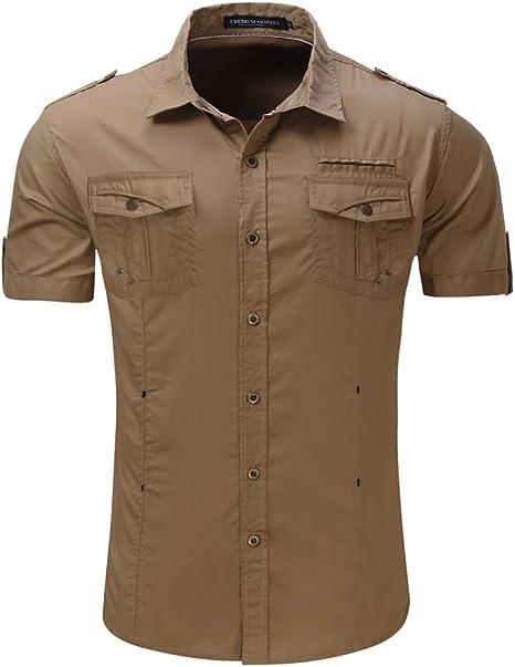 Mena UK Hombre Manga Corta Algodón Camisa Mono Pura S-XXL (Color : Khaki, Tamaño : S): Amazon.es: Deportes y aire libre
