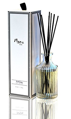 Manu Home Earl Grey Fragrance Diffuser ~ 5.2 oz ~ A refreshing blend of fresh Bergamot & Black Tea Leaves blended with notes of Amber & Jasmine. Soothing Aromatherapy relaxation scent~ (Diffuser Aroma Scented)