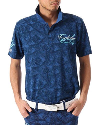[ガッチャ ゴルフ] GOTCHA GOLF ポロシャツ 千鳥 ボタニカル柄 カノコ ポロ [吸水速乾] 182GG1203 ネイビー XSサイズ