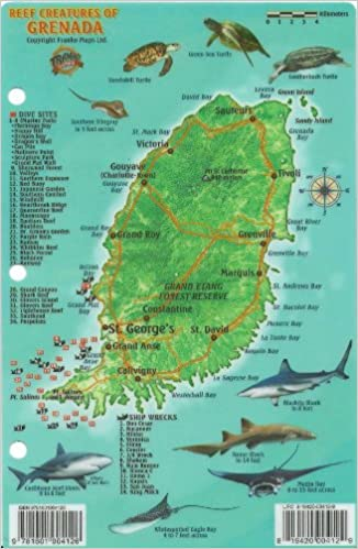 Grenada Dive Map Reef Creatures Guide Franko Maps Laminated Fish - Map of grenada world