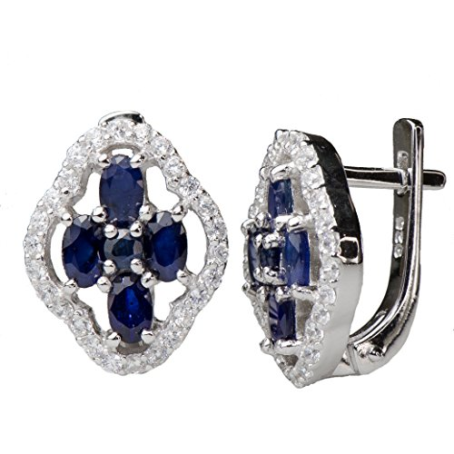 Vintage Natural blue treated sapphire floral motif Earrings 925 - Earrings Sapphire Motif