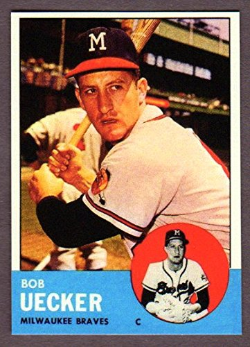 Bob Uecker 1963 Topps Baseball Reprint Card with Original Back (Bold Color) Sharpe !! (Milwaukee) (Atlanta) (St Louis) (Philadelphia) Bob Uecker Baseball