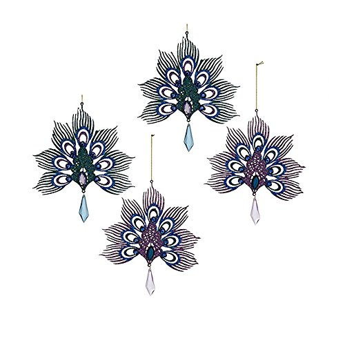 Kurt Adler Metal Blue And Pink Peacock Christmas Ornaments 2 Assorted - Set of 4