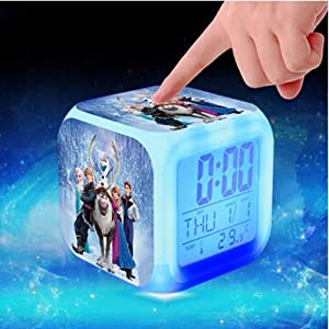 Sunshine Grocery Princess Elsa Anna Minions Pokemon go Digital Alarm Clock Color Changing LED reloj despertado Clock Kids Cartoon Toys,Army Green