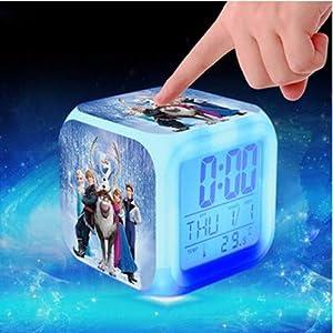 Sunshine Grocery Princess Elsa Anna Minions Pokemon go Digital Alarm Clock Color Changing LED reloj despertado Clock…