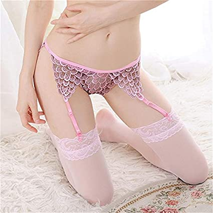 ca38a31b74c Image Unavailable. Image not available for. Color  Funnmart Sexy Lady Layer  Floral Lace Garter Lingerie Garter Belt ...
