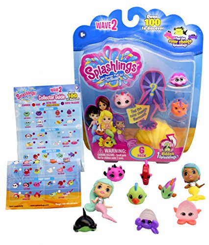 Splashlings Wave II Six Pack Playset- One Mermaid, Four Splashlings, And One Treasure Shell