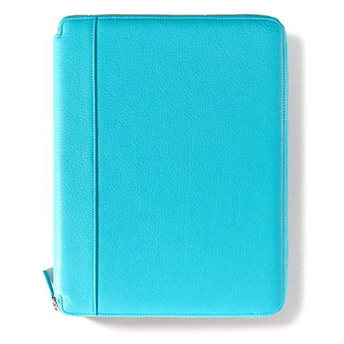 Leatherology Left Handed Executive Zippered Portfolio - Full Grain Leather Leather - Teal (Blue) by Leatherology (Image #1)