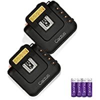 Cactus Wireless Flash Transceiver V6 (2 Pack) PLUS Blucoil AA Batteries (Four Pack) - VALUE BUNDLE