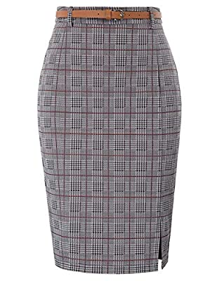 Kate Kasin Women's Bodycon Pencil Skirt with Belt Solid Color Hip-Wrapped
