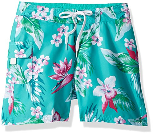 Sassy UPF 50+ Quick Dry Beach Coverup Boardshort, Alania Green Floral, Large (10/12) ()