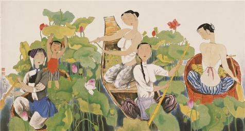 - Oil Painting 'Hu Yongkai,Picking Lotus,21th Century', 8 x 15 inch / 20 x 38 cm , on High Definition HD canvas prints is for Gifts And Game Room, Hallway And Home Theater Decoration, HD