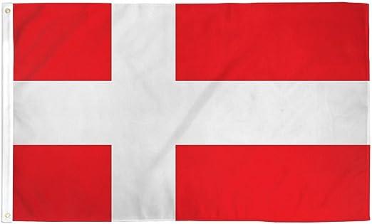 Blanc Danish Cross Drapeau Tissu Polyester 3x5 FT Décoration Hanging Bannières