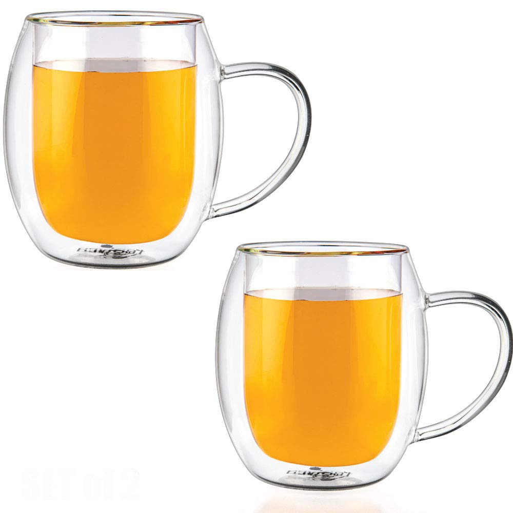 Tealyra - ZEUS 400ml - Set of 2 - Double Wall Glass Mug With Handle - Perfect Clear Cup Glasses - Tea - Coffee - Cappuccino - Heatproof Insulating - Keeps Beverages Hot - 13.50-ounce 1060b