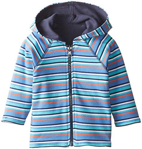 Zutano Baby Boys Periwinkle Multi Stripe Reversible Zip Hoodie, Periwinkle, 12 Months