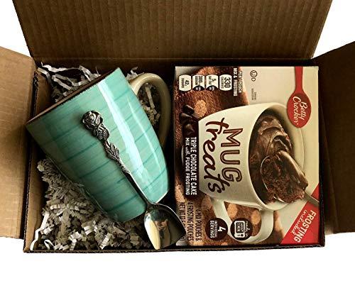 Cupful Of Gooey Goodness Gift Set! Betty Crocker Mug Treat With Frosting, Turquoise Mug, And Gorgeous Rose Handled Dessert Spoon! Enjoy An Elegant, Easy & Delicious Dessert! (Triple Chocolate Cake) ()