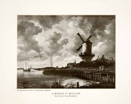 Jacob Windmill (1915 Print Holland Ship Harbor Windmill Jacob Van Ruisdael Marine Landscape Art - Original Halftone Print)