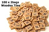200 Scrabble Tiles - NEW Scrabble Letters - Wood Pieces - 2 Complete Sets - Great for Crafts, Pendants, Spelling