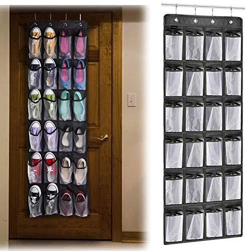 PUBAMALL Estantes colgantes para zapatos y accesorios, 24 grandes bolsillos de malla colgando de almacenamiento de calzado...