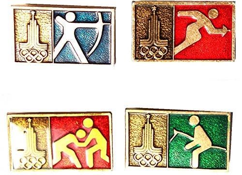 Russian Moscow Olympic pins -Set of 4-Wrestling, Arching, Fencing and Horse - Pin Olympic Wrestling