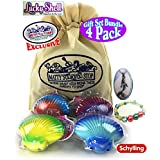 """Schylling """"Lucky Shell"""" Dissolve & Reveal Surprise Bracelet Gift Set Party Bundle with Exclusive """"Matty's Toy Stop"""" Storage Bag - 4 Pack"""