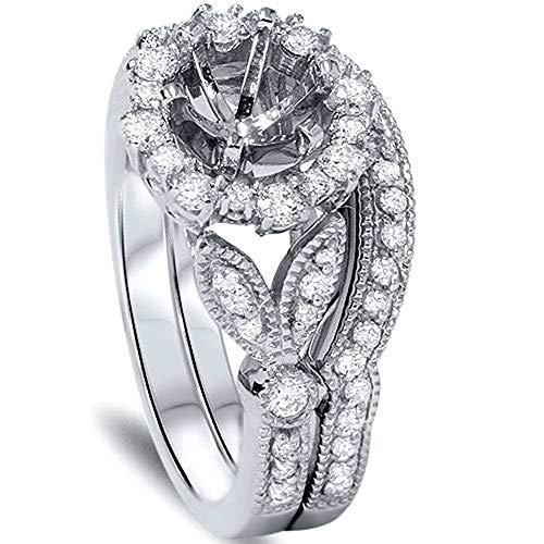 Vintage Halo Diamond Engagement Ring Setting Semi Mount Matching Wedding Band - Size 10