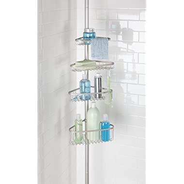 mDesign Bathroom Shower Storage Constant Tension Corner Pole Caddy - Adjustable Height - 4 Positionable Baskets for Organizing and Containing Hand Soap, Body Wash, Wash Cloths, Razors - Satin