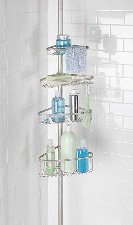 MDesign Bathroom Shower Storage Constant Tension Corner Pole Caddy U2013  Adjustable Height   4 Positionable Baskets