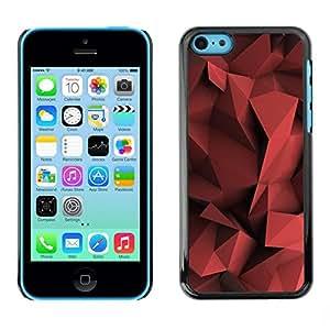 FECELL CITY // Duro Aluminio Pegatina PC Caso decorativo Funda Carcasa de Protección para Apple Iphone 5C // Polygon Pattern Maroon Black
