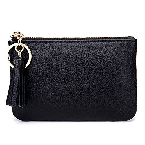 Aladin Wide Coin Change Purse Wallet with Key Ring & Leather Tassels Zip Tab - Leather Tab Ring Key