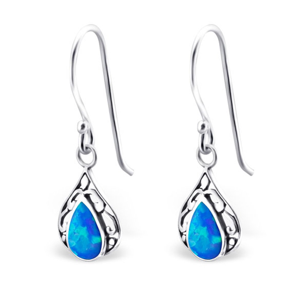 Teardrop Synthetic Opal Silver Dangle Earrings Vintage Antique Style Stering Silver 925 (Pacific Blue)