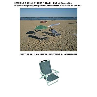 """STRANDURLAUB-bADEBEACH-pour les voyages de loisirs-® sTABIELO ®-modèle """"eLBA""""-inclus dans la livraison-bEL-sOL-chaise longue en aluminium anthracite 2.8 kg-sangle """"holly sUN ® fächerschi"""