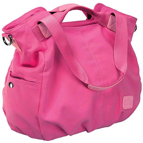 BMC superior doble para mujer lienzo bolso de mano para el hombro bolsa aislante para mango de bolsa de la compra rosa fucsia