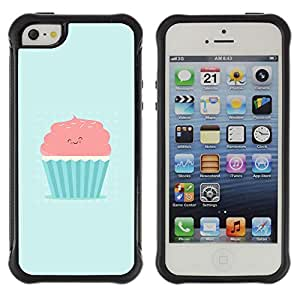 SHIMIN CAO@ CUTE PINK & BLUE CUPCAKE Rugged Hybrid Armor Slim Protection Case Cover Shell For iphone 5S CASE Cover ,iphone 5 5S case,iphone5S plus cover ,Cases for iphone 5 5S