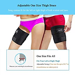 Runflory Thigh Support Brace, Adjustable Non-slip Thigh Slimmer Trimmer Compression Thigh Sleeve Wrap Brace for Sore Hamstring, Quad Support or Injury Recovery, Running & Sports - One Size, Black