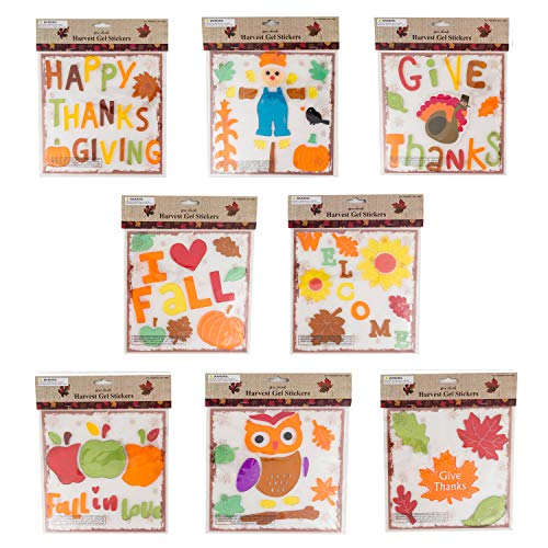 Thanksgiving Fall Gel Sticker Window Clings Bundle of 8 Packages