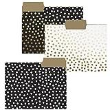 "Graphique Gold Dots File Folder Set - File Set Includes 9 Folders with 3 Unique Polka Dot Designs, Embellished w/Gold Foil on Durable Triple-Scored Coated Cardstock, 11.75"" x 9.5"""