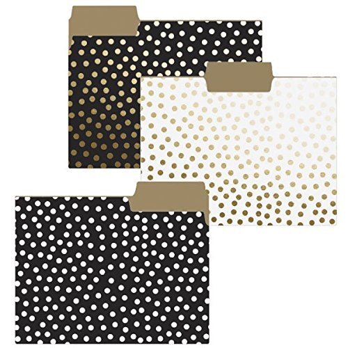 - Graphique Gold Dots File Folder Set - File Set Includes 9 Folders with 3 Unique Polka Dot Designs, Embellished w/ Gold Foil on Durable Triple-Scored Coated Cardstock, 11.75