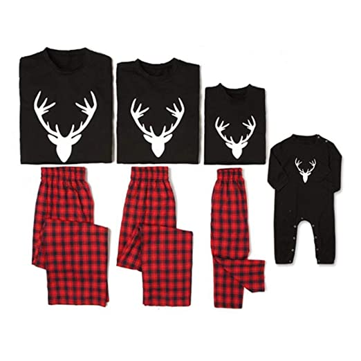 8b703a9434 Matching Family Pajamas Sets Deer Long Sleeve Tee and Plaid Pants  Loungewear at Amazon Women s Clothing store