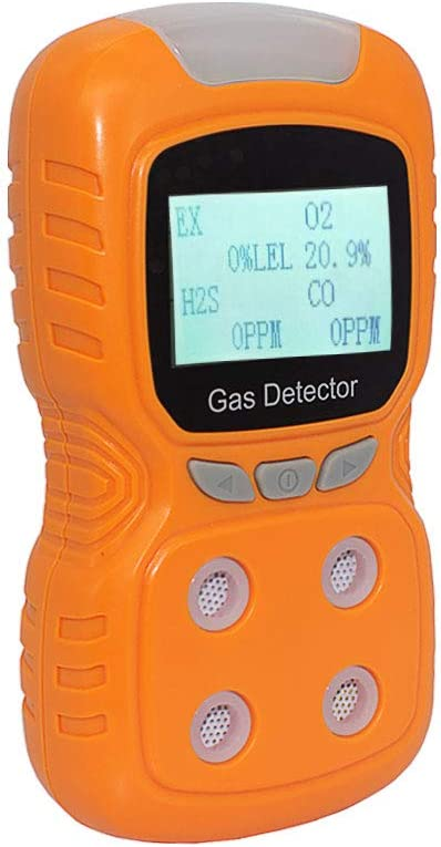 4 Gas Detector, Portable Multi Gas Monitor LCD Screen Backlight Rechargeable Battery Sound Light Vibration Alarm, 2-Year Detector