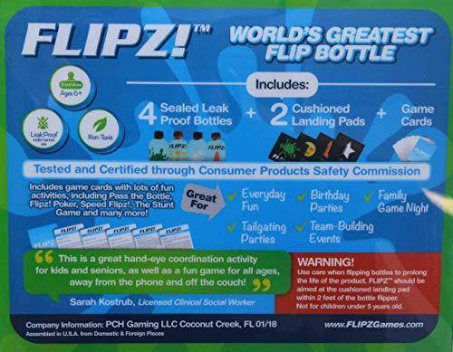 FLIPZ! The World's Greatest Flip Bottles for Bottle Flip Games! - Complete  Game Set includes 4 bottles, 2 landing pads, and challenging flip game