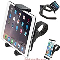 ChargerCity HDX2 Apple iPad Mini Air PRO iPhone X 8 7 Plus Samsung Galaxy Tab S7 S8 Edge Note Tablet/Smartphone Strap-Lock Holder Mount for In Door Exercise Eliptical Treadmill Spin Bike Handlebar