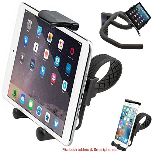 ChargerCity HDX2 Strap-Lock Mount for InDoor Bicycle Treadmill Exercise Spin Bike Helm w/Tablet & Smartphone Holder for Apple iPad Mini Air PRO iPhone XR XS MAX X 8 Plus Samsung Galaxy Tab S9 S8 Note