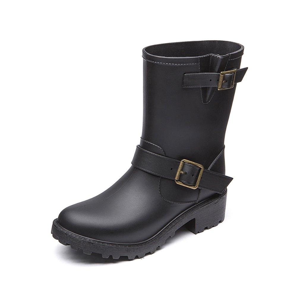 DKSUKO Womens Rain Boots with Elastic Adjust Waterproof -6 Colors-Motorcycle Boots for Girls JXC01 (9 B(M) US, Black)