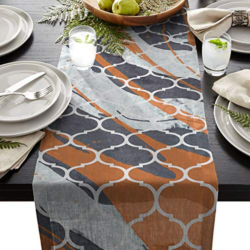 - Linen Burlap Table Runner Classic Morocco Shape Retro Marble Pattern Natural Luxury Premium Exquisite Decor Table Runner for Wedding Banquet Kitchen Dining Birthday 14x72in