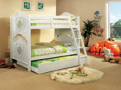 - Isabella III white finish wood Twin over Twin bunk bed with Flower and Heart motif