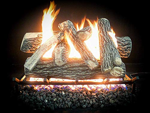 Dreffco 18-30 inch Great NW Oak Vented Gas Log Kit w/On/Off Remote Start ()