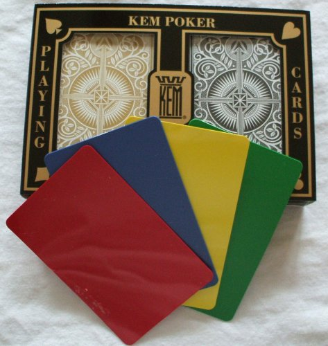 2 Free Cut Cards + KEM Arrow Black Gold Playing Cards Poker Size Jumbo Index by Kem Playing Cards