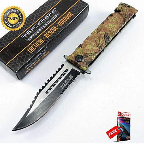 Harley Davidson Rescue Knife - SPRING ASSISTED FOLDING POCKET Sharp KNIFE Tac-Force Forest Camo Serrated Rescue Blade Combat Tactical Knife + eBOOK by Moon Knives